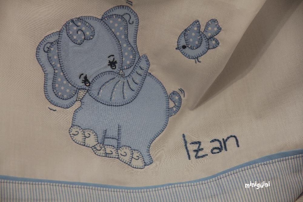 Detalle elefante sábana bebé
