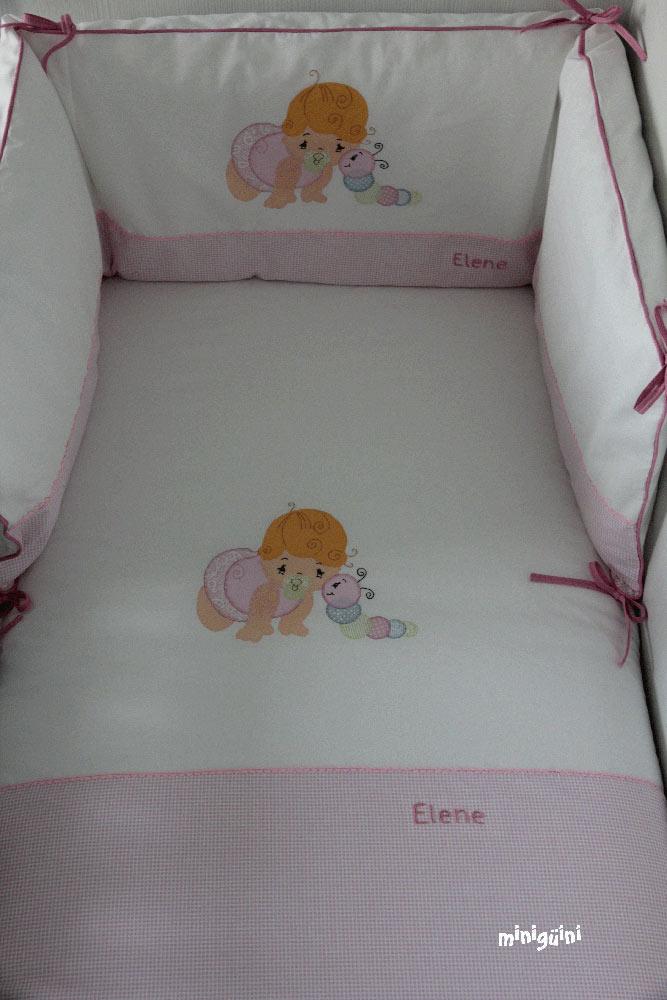 Colcha y chichonera bebé rosa